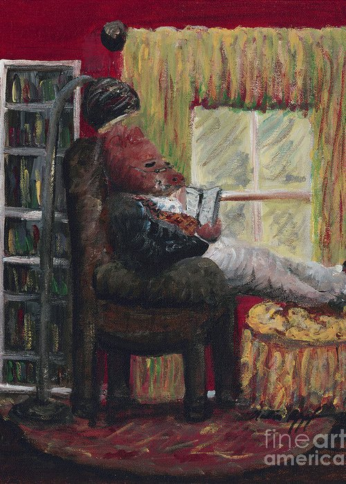 Hog Greeting Card featuring the painting Literary Escape by Nadine Rippelmeyer