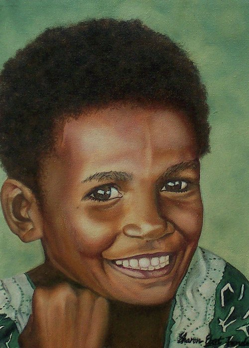 Portrait Greeting Card featuring the painting Little Alis by Sharon Ebert