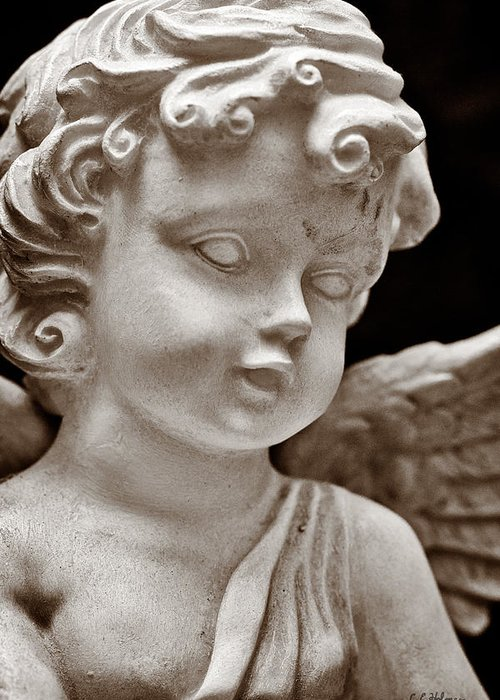 Angel Greeting Card featuring the photograph Little Angel - Sepia by Christopher Holmes