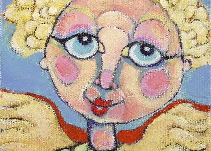 Acrylic Greeting Card featuring the painting Little Angel by Michelle Spiziri