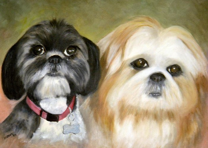 Pets Greeting Card featuring the painting Little Angels by Merle Blair