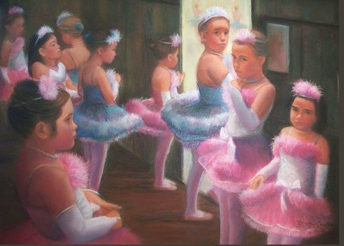 Ballet Greeting Card featuring the pastel Little Ballerinas Backstage At The Recital by Diane Caudle