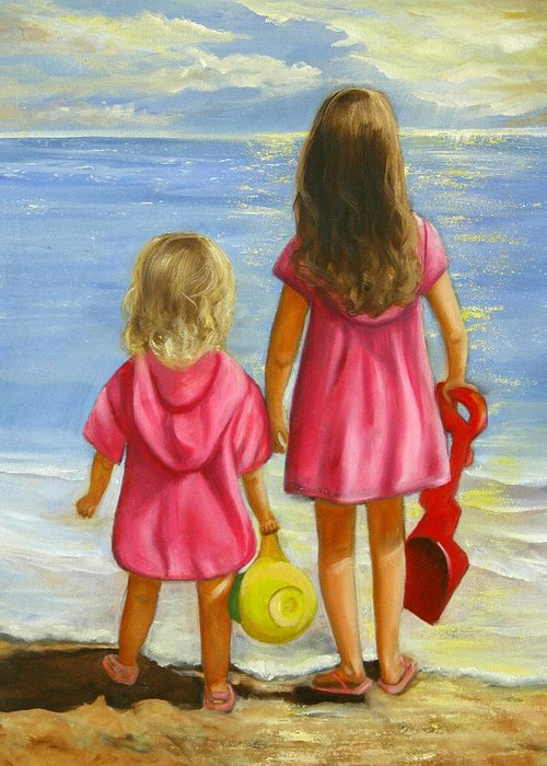 Child Greeting Card featuring the painting Little Beachcombers by Joni McPherson