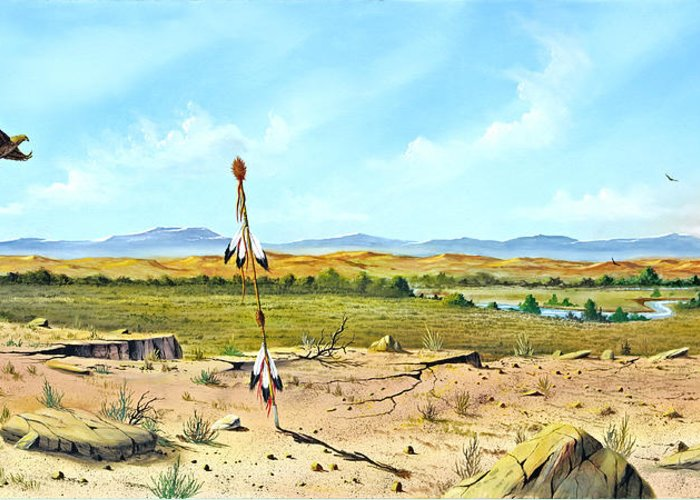 Landscape Greeting Card featuring the painting Little Bighorn by Don Griffiths