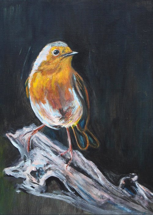 Bird Greeting Card featuring the painting Little Bird by Denice Palanuk Wilson