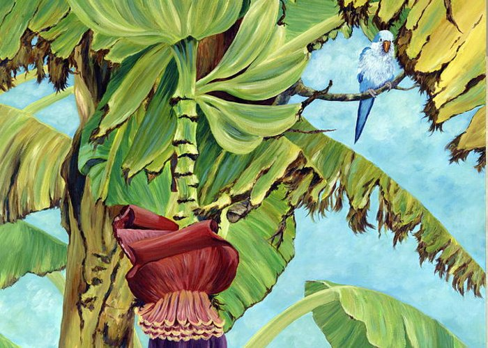 Tropical Greeting Card featuring the painting Little Blue Quaker by Danielle Perry