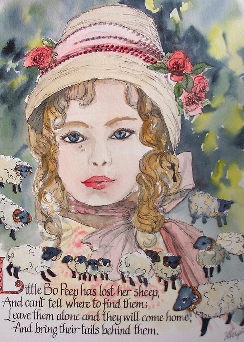 Little Bo Peep Greeting Card featuring the painting Little Bo Peep by Victoria Heryet