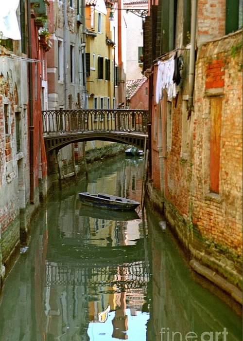 Venice Greeting Card featuring the photograph Little Boat On Canal In Venice by Michael Henderson