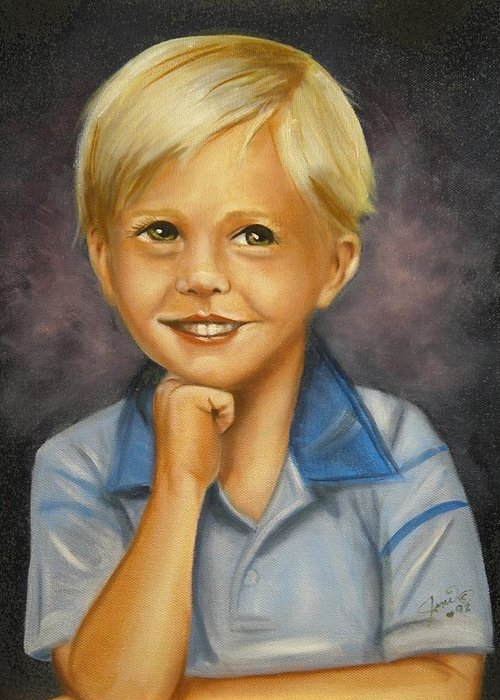 Portrait Greeting Card featuring the painting Little Boy Blue by Joni McPherson