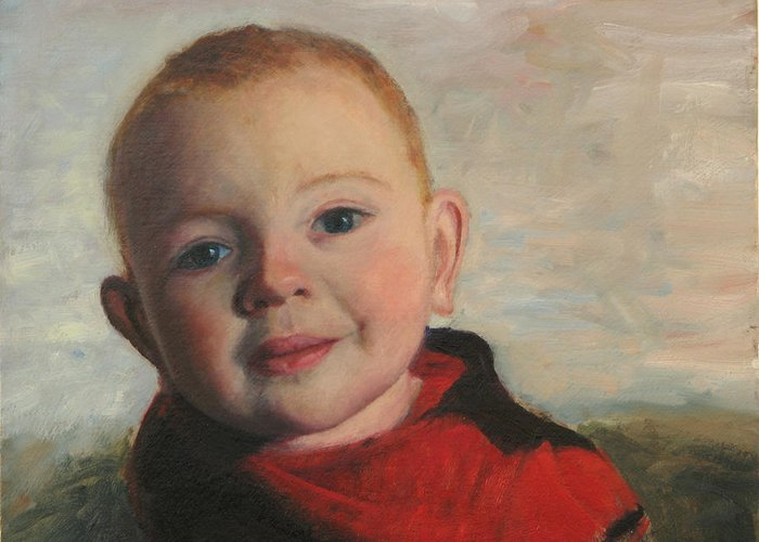 Portraits Greeting Card featuring the painting Little boy in red by Chris Neil Smith