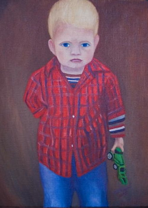 Portrait Greeting Card featuring the painting Little Boy by Stephen Degan