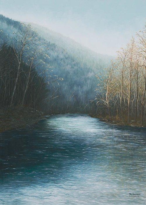 Buffalo River Paintings Greeting Card featuring the painting Little Buffalo River by Mary Ann King