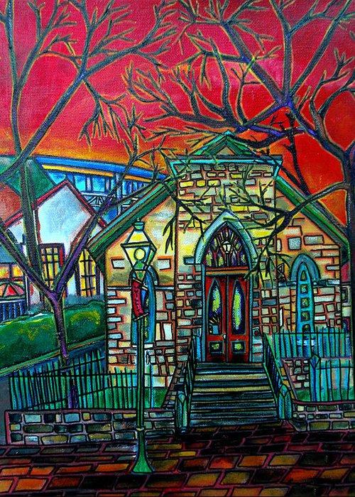 Church Greeting Card featuring the painting Little Church At La Villita by Patti Schermerhorn