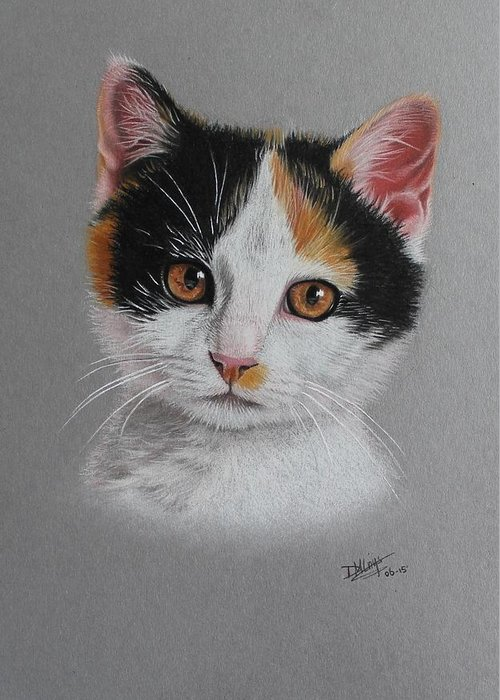 Faber Castell Greeting Card featuring the drawing Little Cutie by Denise Nijs