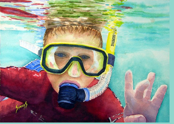 Diver Greeting Card featuring the painting Little Diver by Sam Sidders