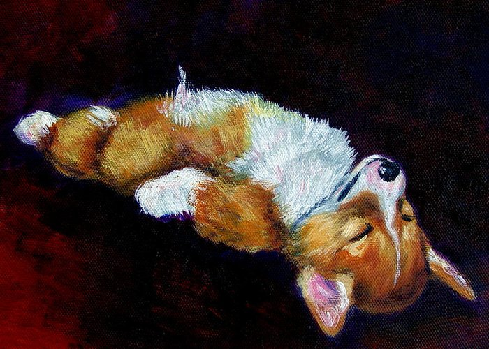 Pembroke Welsh Corgi Greeting Card featuring the painting Little Dreamer by Lyn Cook