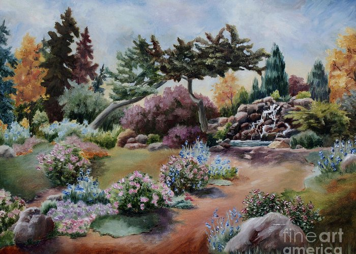 Garden Greeting Card featuring the painting Little Eden by Brenda Thour