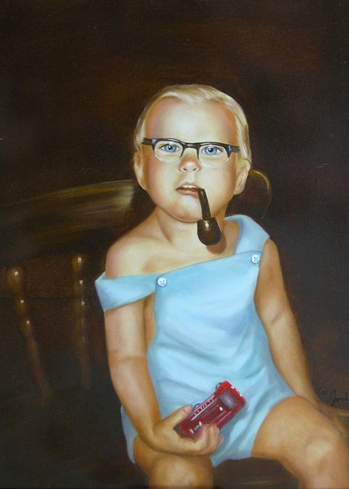 Portrait Greeting Card featuring the painting Little Firefighter by Joni McPherson
