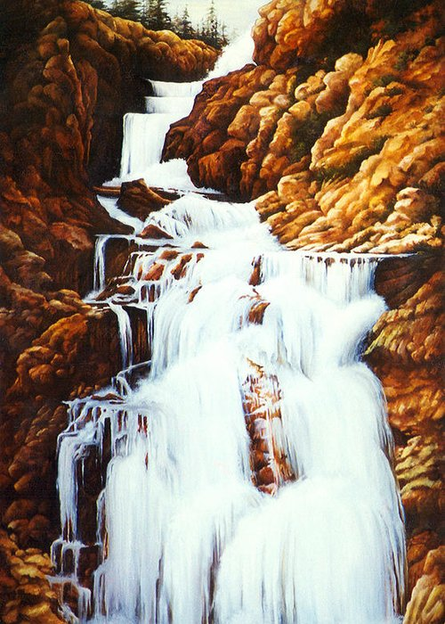 Waterfall Greeting Card featuring the painting Little Firehole Falls by Teri Rosario