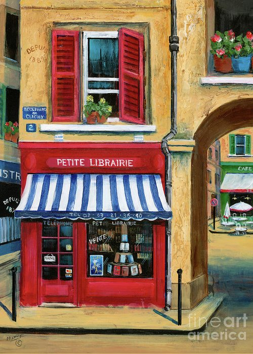 Europe Greeting Card featuring the painting Little French Book Store by Marilyn Dunlap