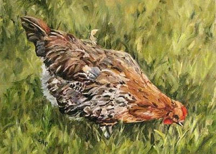 Chicken Greeting Card featuring the painting Little French Hen by Cheryl Pass