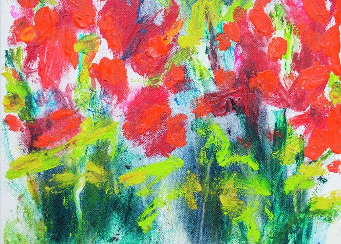 Abstract Greeting Card featuring the painting Little Garden 01 by Claire Desjardins