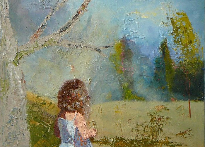 Landscape Greeting Card featuring the painting sold Little Girl and the Wood by Irena Jablonski