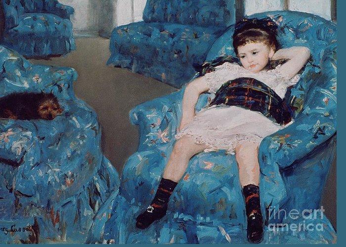 Cassatt Greeting Card featuring the painting Little Girl In A Blue Armchair by Mary Stevenson Cassatt