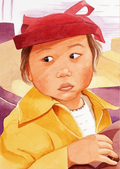 Little Japanese Girl In Red Hat Greeting Card featuring the painting Little Girl In Red Hat by Judy Swerlick