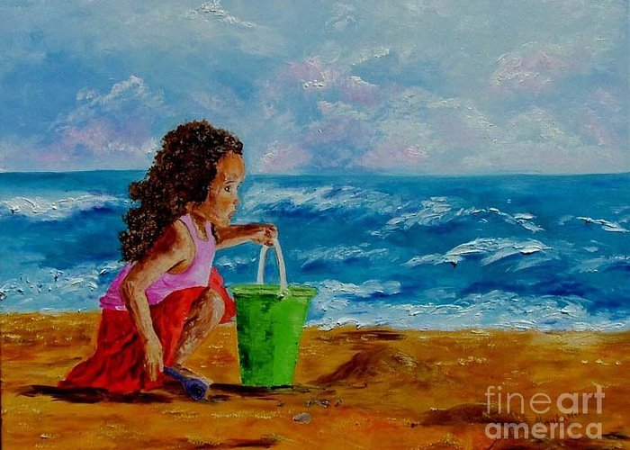 Girl Greeting Card featuring the painting Little Girl by Inna Montano