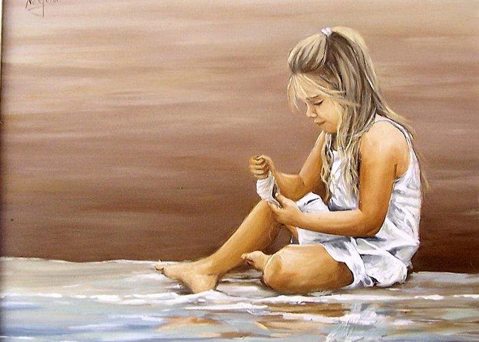 Children Girl Sea Shell Seascape Water Portrait Figurative Greeting Card featuring the painting Little Girl With Sea Shell by Natalia Tejera
