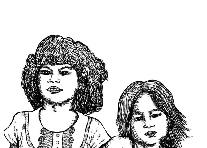 Drawing Greeting Card featuring the drawing Little Girls by Karl Addison