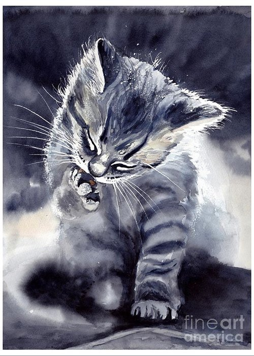 Little Greeting Card featuring the painting Little Grey Cat by Suzann Sines