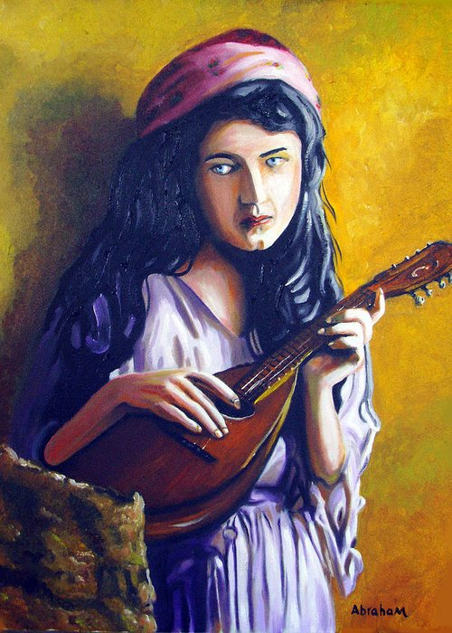 Oil Greeting Card featuring the painting Little Gypsy by Jose Manuel Abraham