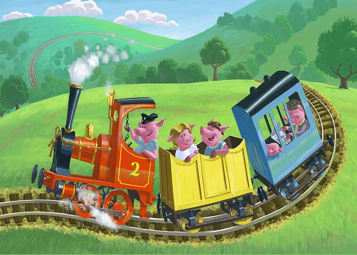 Animal Greeting Card featuring the painting Little Happy Pigs On Train Journey by Martin Davey