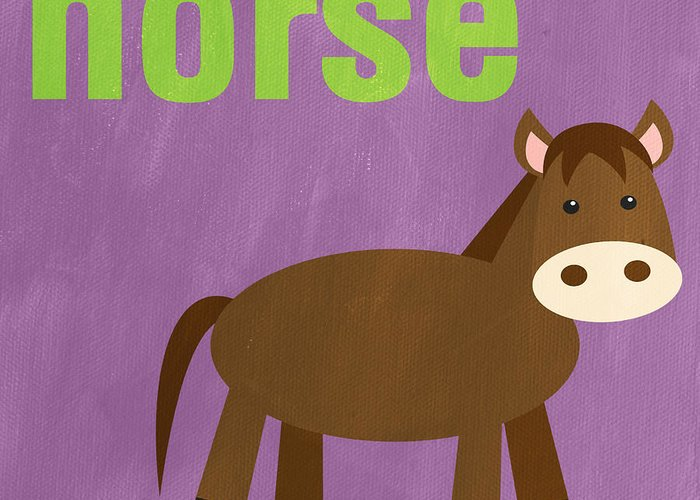 Horse Greeting Card featuring the painting Little Horse by Linda Woods