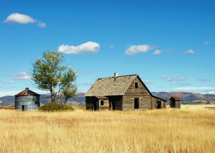 Landscape Greeting Card featuring the photograph Little House On A Prairie by Jan Tribe