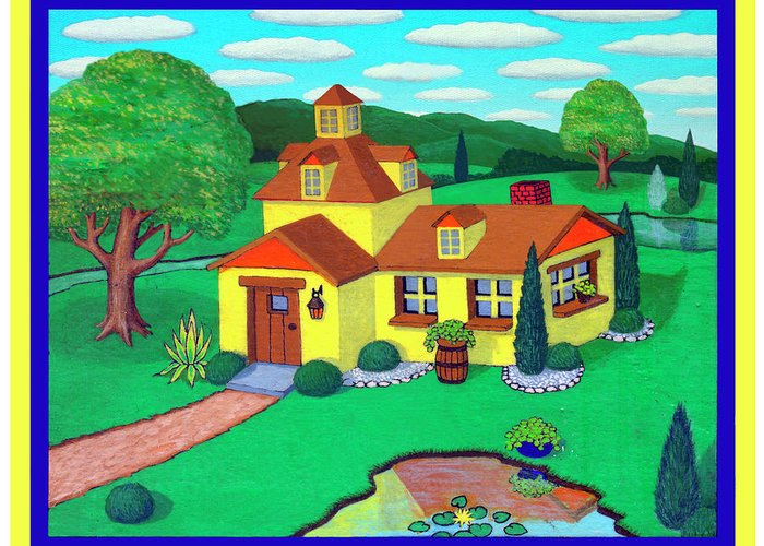 House Greeting Card featuring the painting Little House On The Green by Snake Jagger