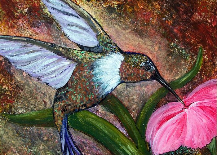 Hummingbird Greeting Card featuring the painting Little hummingbird by Tami Booher