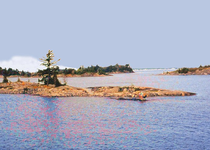 Island Greeting Card featuring the photograph Little Island Ae Painting 2 by Lyle Crump
