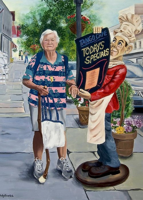 Elderly Woman Greeting Card featuring the painting Little Lady from Saugerties by Judy Swerlick