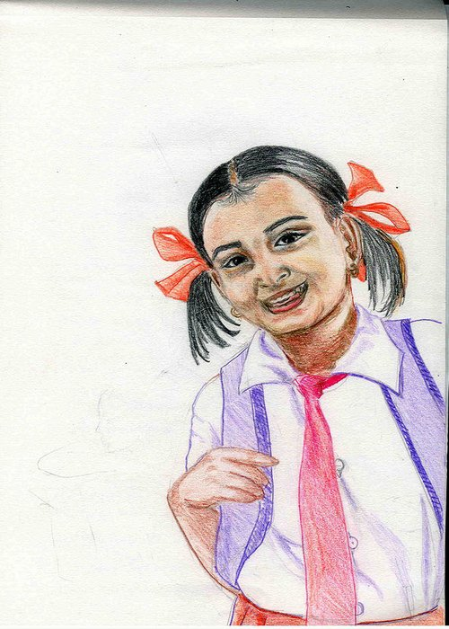 Child Greeting Card featuring the drawing Little Manju by Asha Sudhaker Shenoy
