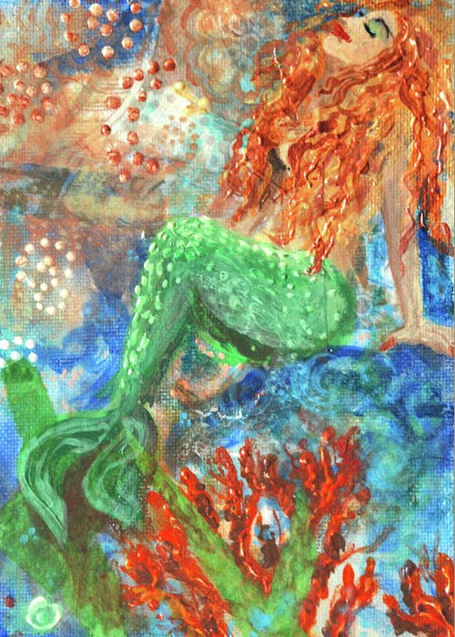 Acrylic Paint Greeting Card featuring the mixed media Little Mermaid by Jennifer Kelly