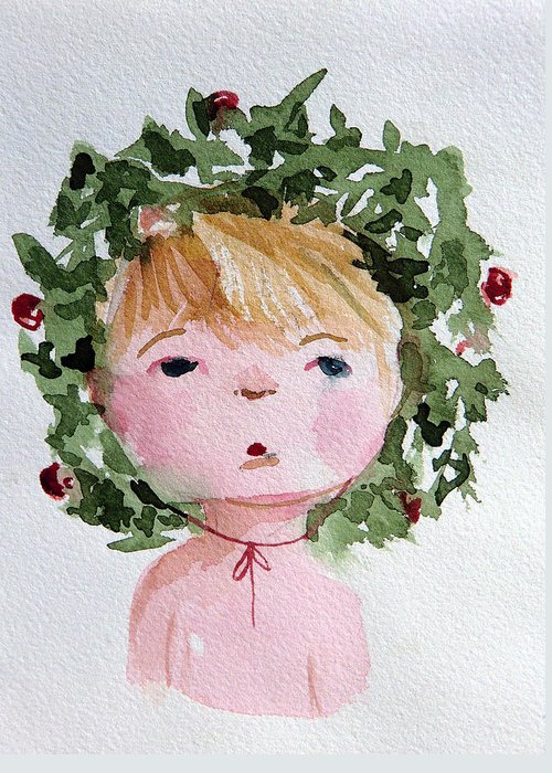Christmas Greeting Card featuring the painting Little Miss Merry by Mindy Newman