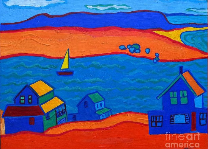 Landscape Greeting Card featuring the painting Little Neck Cottages by Debra Bretton Robinson