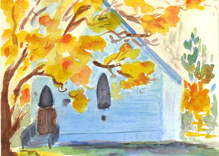 Church Greeting Card featuring the painting Little Old Church In Friday Harbor by Kerry Hartjen
