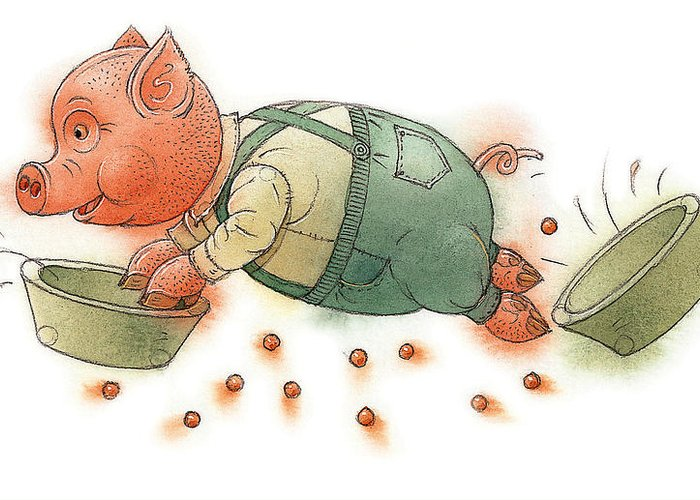 Pig Food Kitchen Dinner Children Greeting Card featuring the painting Little Pig by Kestutis Kasparavicius