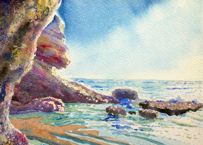 Seascape Greeting Card featuring the painting Little Place Of Paradise by Aymeric NOA