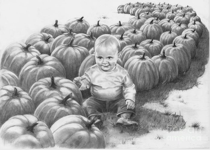 Charity Greeting Card featuring the drawing Little Pumpkin by Murphy Elliott