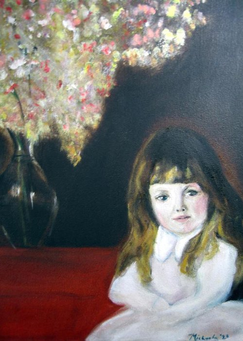 Child Greeting Card featuring the painting Little Queen by Michela Akers